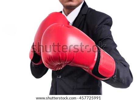 Businessman standing posture with boxing gloves isolated on white background