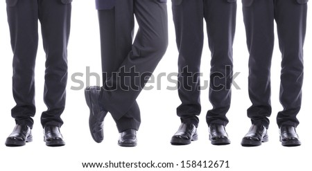 Businessman standing ,someone make different for challenge something - stock photo