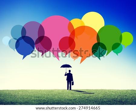 Businessman Standing Thoughts Creative Ideas Speech Concept - stock photo