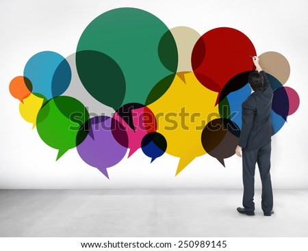 Businessman Standing Thoughts Ideas Speech Concept - stock photo