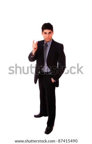 Businessman standing with finger up -  full length isolated on white background