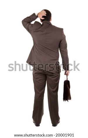 businessman standing with his backs facing the camera - stock photo