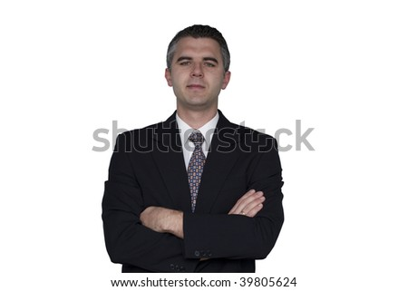 Businessman standing with his hands crossed (white background) - stock photo