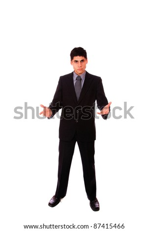 Businessman standing with open hands -  full length isolated on white background - stock photo