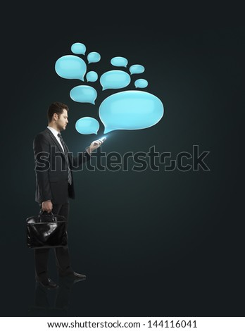 businessman standing with phone and bubble talk
