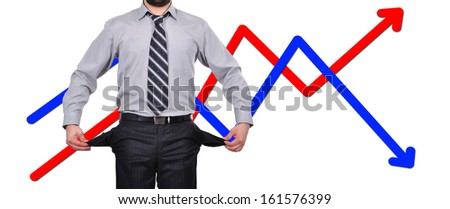 businessman standing with pockets turned inside out, business concept - stock photo