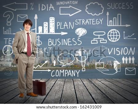 Businessman standingnear Innovation plan. Business background - stock photo