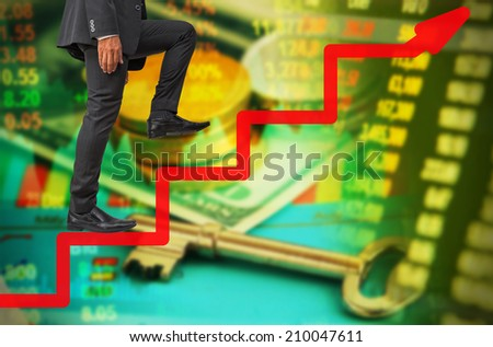 businessman step up to success on line graph on money concept background - stock photo