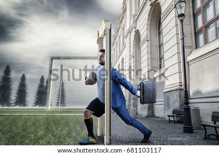 Businessman stepping through door to a soccer field half business man half soccer player. & Businessman Stepping Through Door Soccer Field Stock Photo 681103117 ...