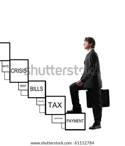 Businessman stepping up a stairway to achieve success overcoming financial difficulties - stock photo