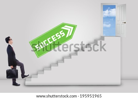 Businessman stepping up to the door of success with an arrow direction to the door - stock photo