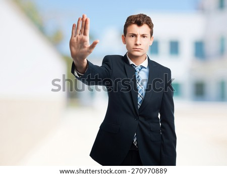 businessman stop gesture