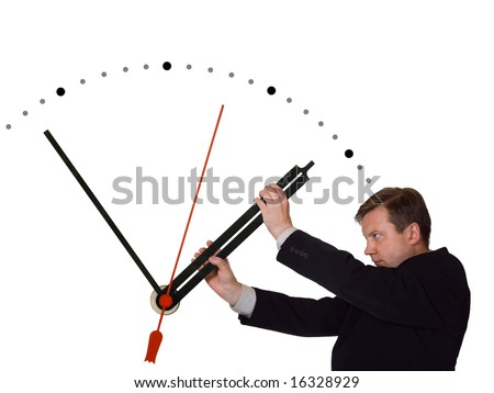 Businessman stop time isolated on white background - stock photo