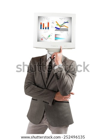 Businessman stores and acts as a computer - stock photo