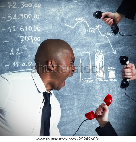 Businessman stressed and nervous from business call - stock photo
