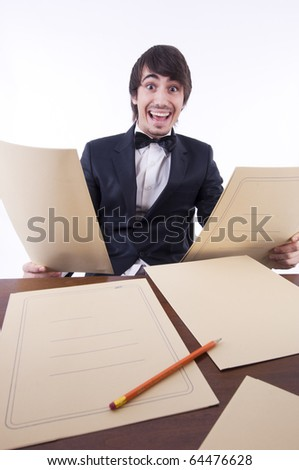 Businessman stressed in his office, many documents on the desk
