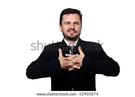 businessman stretching after a tiring work - stock photo