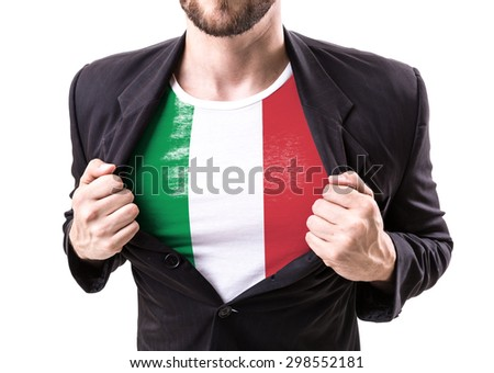Businessman stretching suit with Italian Flag isolated on white - stock photo