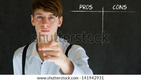 Businessman, student or teacher thinking pros and cons decision list chalk concept blackboard background - stock photo
