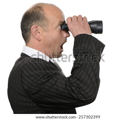 Businessman stunned business observation - stock photo