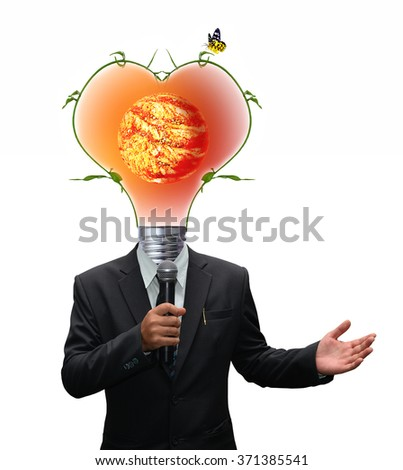 businessman Suit holding microphone and green energy light bulb head , Element of this image furnished by NASA - stock photo
