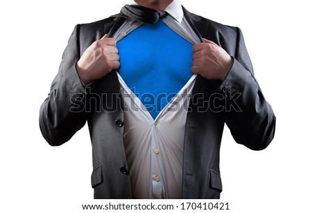 Businessman super hero isolated on white background - stock photo
