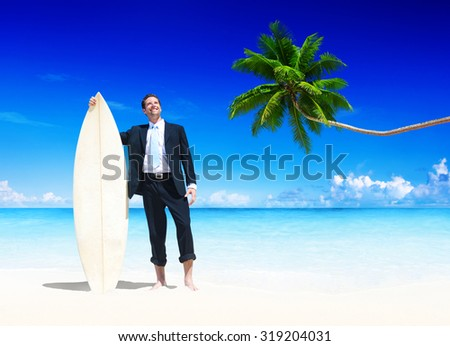Businessman Surfboard on Beach Travel Ocean Sand Concept - stock photo