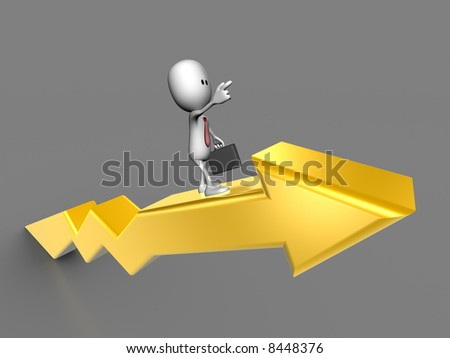 Businessman surfing on a positive Chart - stock photo