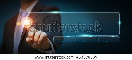 Businessman surfing on internet with digital tactile web address interface '3D rendering' - stock photo