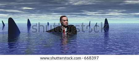 Businessman surrounded by sharks - stock photo