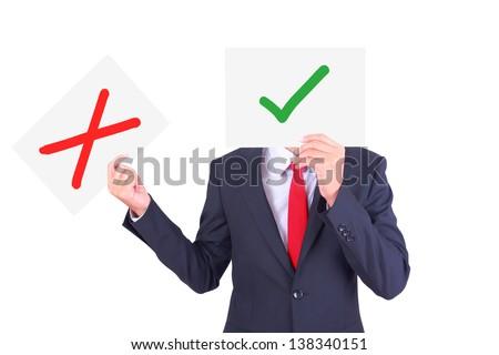 Businessman swap paper to show contrast idea - stock photo
