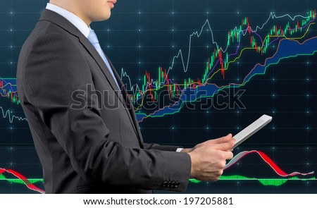 Businessman, tablet and forex background - stock photo