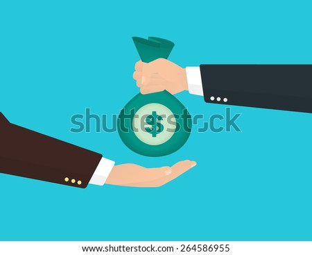 Businessman takes bag of money from another businessman. - stock photo