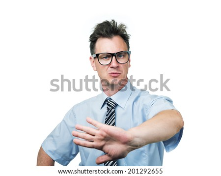 Businessman takes no conditions, isolated on white background - stock photo