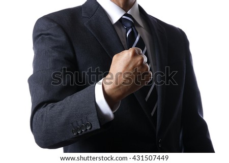 Businessman takes the chequered flag - stock photo
