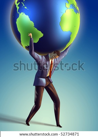 Businessman takes the Earth on its shoulders. Digital illustration - stock photo