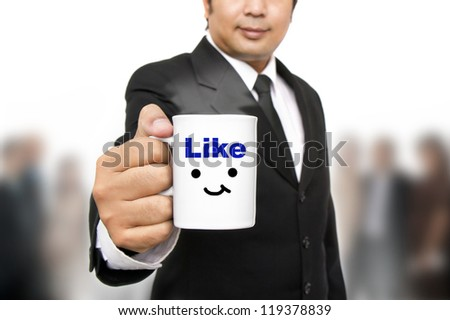 Businessman taking break in office - stock photo