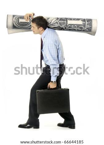 Businessman taking money and suitcase on white background. - stock photo