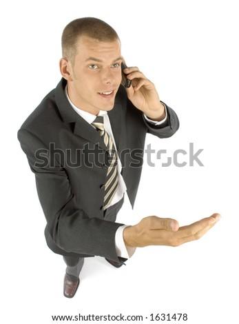 businessman talk to mobile phone - stock photo