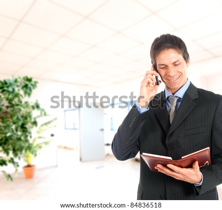 Businessman talking on a mobile phone while reading his agenda in an office environment - stock photo
