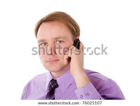 Businessman talking on cell phone isolated - stock photo