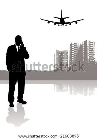 businessman talking on his phone while a plane flies over head - stock photo