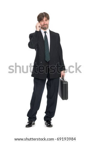 Businessman talking on mobile phone. - stock photo