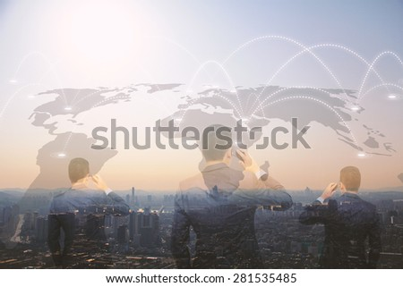 Businessman talking on smart phone.double exposure of businessman. - stock photo
