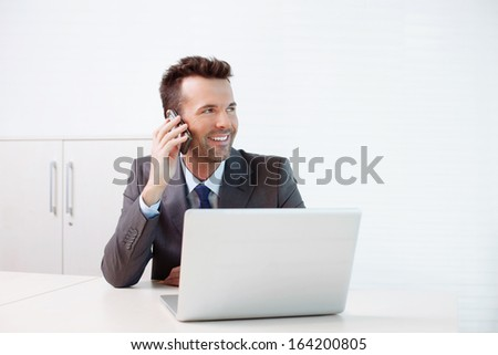 Businessman talking on the phone. Business concept - stock photo