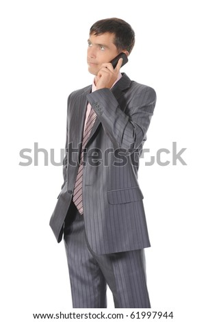 Businessman talking on the phone. Isolated on white background - stock photo