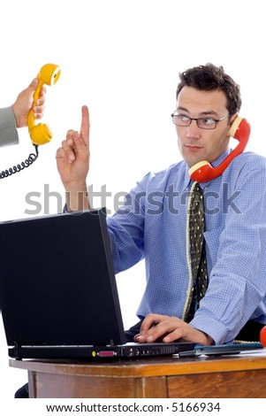 Businessman talking on the phone while somebody else is on the line