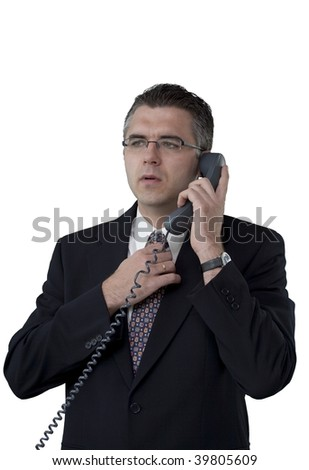 Businessman talking on the phone (white background)