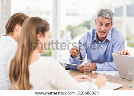 Businessman talking while meeting in the office