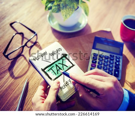 Businessman Tax Economy Refund Money Concept - stock photo